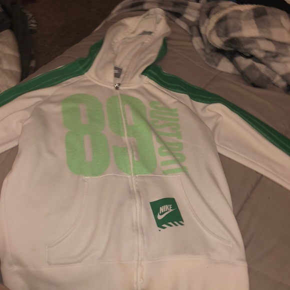 Nike Jackets & Blazers - green and white nike zip up jacket
